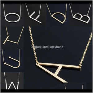 Necklaces Stainless Steel English Az 26 Letters Initial Necklace Sier Gold Pendant Chain For Women House Name Fashion Jewelry Drop Cke Zryzg