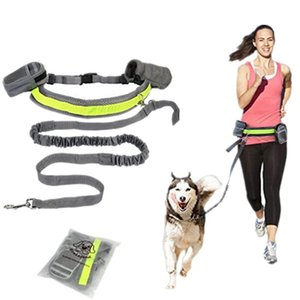 Hand Free Elastic Puppy Dog Leash Adjustable Padded Waist Reflective Running Jogging Walking Pet Lead Belt With Pouch Bags Collars & Leashes