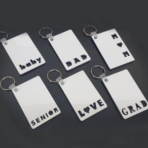 승화 빈 카드 DIY 열쇠 고리 키 체인 2021 어머니의 아버지의 날 선물 사랑 그레이트 아빠 엄마 수석 아기 단어 사진 카드 열 인쇄 G410P8B