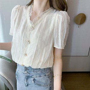 Women's Blouses & Shirts Elegant Basic Lace Chiffon Folds Summer Button Solid For Womens Tops Short Sleeve Clothing 2021 Blusas Female
