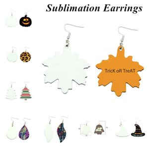 Fashion Sublimations Earrings Double Sided Leather Earring Pendants Sublimation Blanks Creative Gifts Thermal Transfer Leaves