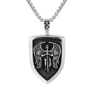 Men's Titanium Steel Necklace Masonic Templar Pendant Retro Punk Wind Motorcycle Rider Fashion Jewelry Necklaces