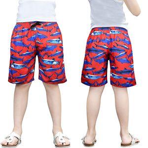 Kinder-Swimwear-Jungen Kinder Shark Gedruckt Schwimmstämme Board Shorts mit Taschen QT6058