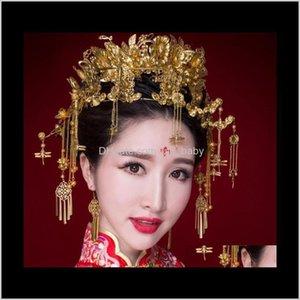 Tiaras Schmuck Drop Lieferung 2021 Chinesischer Stil Handgemachtes High-End-Haar Antike Kostüm Bridal Phoenix Crown Kopfschmuck Hochzeitszubehör Hod