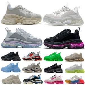 17FW Pairs Triple S Clear Sole Men Women Casual Shoes Fashion Crystal Bottom All White Black Green Pink Yellow Rainbow Sports Outdoor Old Dad Shoe