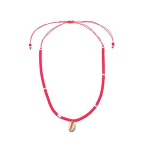 Chains European And American Rose Red Clay Necklace Shell Beach Item Beaded Jewelry