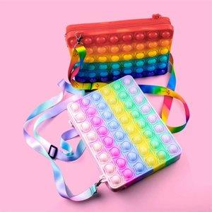 17.8*23CM Macaron rainbow push bubble fidget toys purses crossbody shoulder bag for IPad 2021 2020 Air 3 Pro Mini pouch case cover silicone zipper bag G94UQ0U