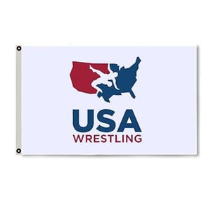 USA Wrestling Logo White Flag For Wrestlin g Season Vivid Color UV Fade Resistant Outdoor Double Stitched Decoration Banner 90x150cm Sports Digital Print Wholesale