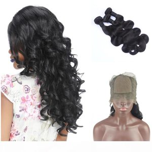9A Peruvian Virgin Human Hair Body Wave 3 Bundles With Pre Plucked Silk Base 360 Full Lace Band Frontal Closure 4Pcs Lot