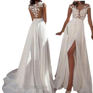 Casual Dresses European And American Wedding Vestido For Women Sexy Lace Hollow Out Dress Slash Neck Slip Floor Length Evening Party Ball Go