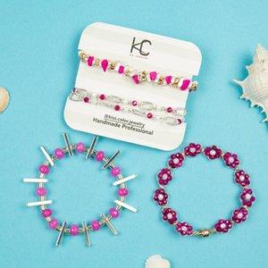 Bracelets de brassage en cristal 2021Handmade collection de perles d'alliage unique empilable Strech Femme à la main Single poignet bijoux Lien