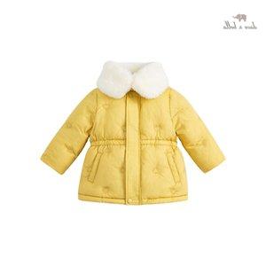 white DBM19815 coat dave bella children winter duck baby girls 90% fashion love padded down kids girl jacket