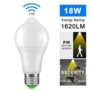 Bulbs PIR Sensor LED E27 B22 12 18W Dusk To Dawn Light Bulb Day Night Motion For Home Lighting