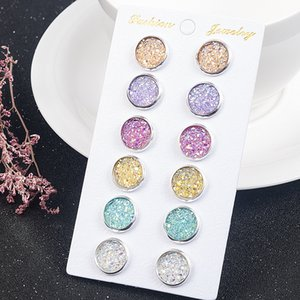Fashion 6 Pairs Set Silver plated Round stainless steel 12mm Resin Druzy Drusy Earrings Handmade Stud for Women Jewelry