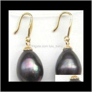 Ohrstecker Schmuck Drop Lieferung 2021 Ein Paar 11x1m Natural Tahitian Black Pearl Ohrring 14k Gold Iduo6