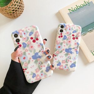 Korean style floral phone cases for iphone 13 pro max 12 11 X XR XS 7 8 plus SE case cover