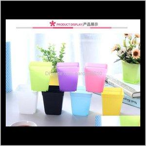 Mini Colorful Plastic Flower Pots Desktop Potted Plants Succulents Pot With Tray Square Candy Colors Planters Garden Home R9D3W Agpnu