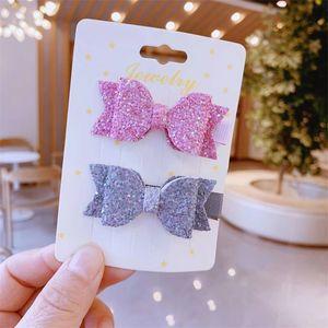 2.4 '' glitter Capelli in pelle archi clip per capelli per perla per le ragazze della principessa Handmade AirGrips Accessori per capelli 307 U2