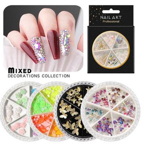 AB Crystal Nail Rhinestone Various 3d Butterfly Resin Rose Flower Ornaments Natural Shell Flakes Metal Nail Art Decorations