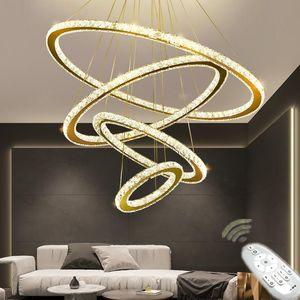 Pendant Lamps LED Lustre Chandeliers Crystal Lighting Fixture For Living Room El Remote Control Hanging Lamp Bedroom Decoration