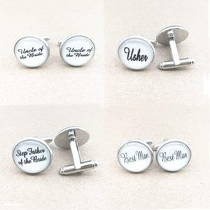 Cuff Link And Tie Clip Sets Fashion White Custom Cufflinks Personalized Groomsmen Clips Men's Party Shirt Jewelry Groom Wedding Gift