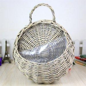 Hand Made Wicker Rattan Flower Basket Hanging Gardening Wall Decoration Pot Planter Vase Container Wall Plant Basket For Garden 1150 V2