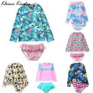 Swimsuit for Girls Long Sleeve Bathing Suits Children Rash Guard Anti-UV Kids Swimwear Bikini Set Toddler Girl Swimming Suit