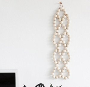 Wood Bead Hanging Pendant Farmhouse Decor INS Nordic Creative Hemp Rope Beaded Children Home Decorative GWD6138