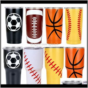 Tumblers Drinkware Kitchen, Dining Bar Home & Garden Drop Delivery 2021 30Oz Tumbler Mugs Basketball Football Baseball Printed Beer Mug Coffe