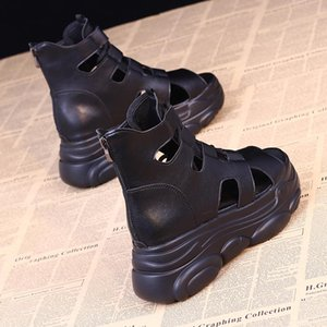 Sandálias femininas de esportes All-Match Feminino Sapato Cruz Trappy Heels Clogs Wedge 2021 Verão Cross-Shoes Muffins Girls com vestido sapatos
