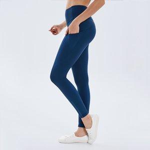 New yoga pants women's side pocket high waist Leggings Lulu fitness hip pants0KUG