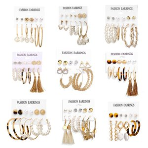 Factory0R1R pearl exaggerated Earrings artificial Metal circle tassel texture acrylic Earring Set