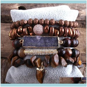 Beaded, Strands Jewelryrh Designer Boho Tiger Eye Stones Beaded Bracelet Natural Stone Charms 5Pc Bracelets Sets For Women Jewelry Gift Drop