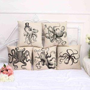 Black and white sketch Mr. squid Octopus cotton hemp home decoration pillow case 100g S1005