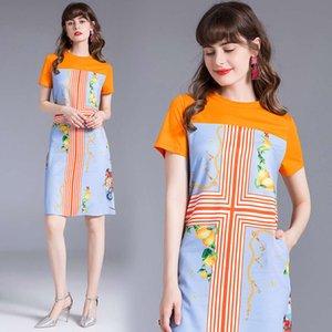 Hayblst Marka Elbise Kadınlar Yeni Yaz Elbiseler Kısa Kollu Artı Boyutu Giysileri Vestidos Yüksek Kaliteli Avrupa Tarzı Baskı Giyim