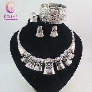 Earrings & Necklace Bridal African Jewelry Sets Fashion Wedding Engagement Gold-color 2021 Accessories