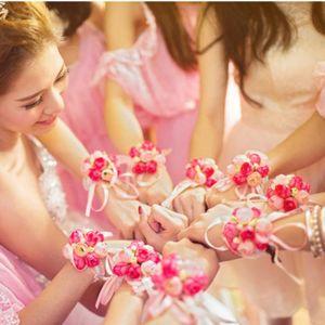 Elastic Band Artificial Wrist Flower Children Dance Hand Flowers Girls Bridesmaid Wedding Prom Party Bride Decoration SZ Decorative & Wreath