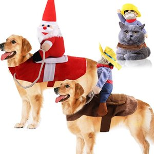 Winter Pet Clothing Christmas Dog Clothes For Large Puppy Ropa Perro Funny Santa Claus Cowboy Cats Apparel