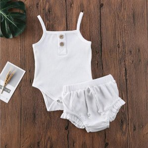 Baby Designs Clothing Sets Infant Girls Suspender Tops Shorts Solid Striped Jumpsuits Ruffle Children Outfits HHC7037
