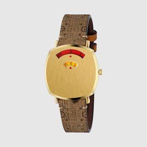 2021 Womens digital fashion Quartz Watch with Gold-Tone Case Ladies Watches luxury brand montre de luxe Leather strap women wristwatches girls pin buckle wristwatch