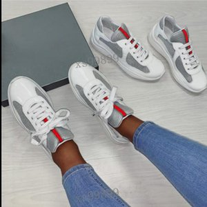 2021 Men Fashion Casual Shoes America's Cup Design Sneakers Patent Leather and Nylon Luxy Sneakers mens shoe