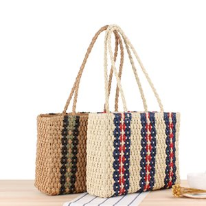 Summer Beach Straw Bags Casual Rattan Women Handbags Wicker Woven Female Totes Large Capacity Lady Buckets Bag Travel Purse ZYY942