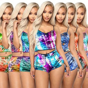 women designer short outfits summer tie dyed hollow sexy leopard print slim velvet two-piece shorts nightclub clothes 2020