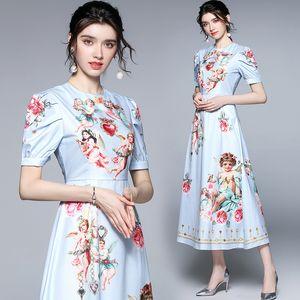 Temperamento Lady Dress Manga Curta Tendência Retro Vestido de Verão High End Moda Fashion Womens Impresso Vestidos Boutique Vestidos