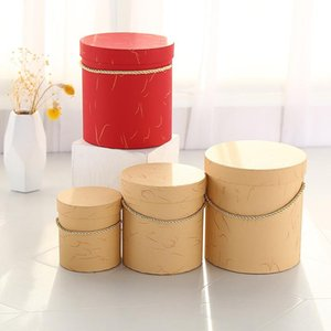 Round Flower Paper Boxes Lid Hug Florist Hold The Bucket Gift Packaging Box Candy Bar Party Wedding Storage Wrap