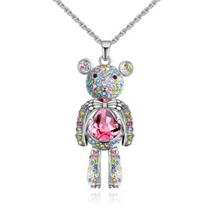 Cute bear crystal necklace lady diamond pendant European and American fashion jewelry party trip souvenir gift