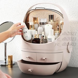 Fashion Large Cosmetic Storage Box Portable With Mirror Desktop Dust-Proof Web Celebrity Clutter Sorting Box Free DHL