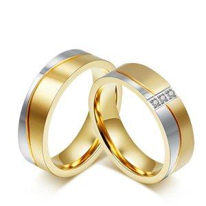 Wedding Rings Fashion Korean Titanium Steel Lovers Set Zircon Ring Accessories Wholesale