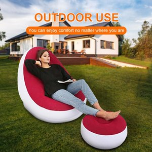1set Inflatable Sofa BEAN BAG Lazy Olding Recliner Outdoor Bed With Pedal Flocking Single Chair Pile Coating Sleeping Bags