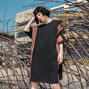 stripe Patchwork vestidos Oversized hip hop tops cotton lady T-shirt dress Letter print loose Streetwear summer dress women new